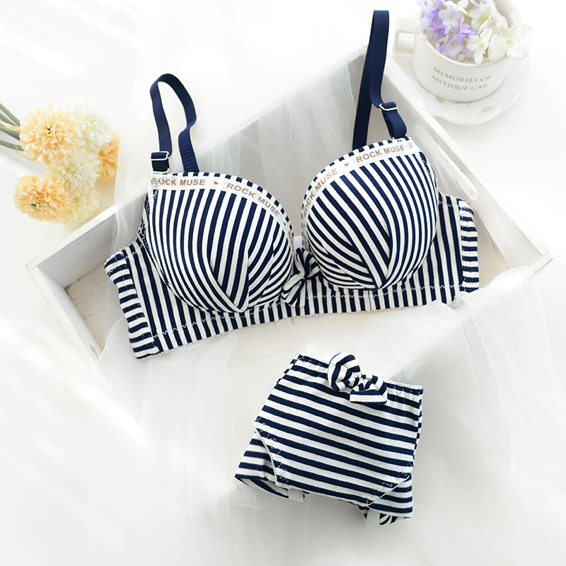 Sweet Comfortable Striped Push Up Women Underwear A Cup   Bra     Set     Bra   &   Brief     Sets