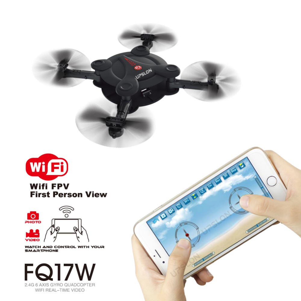 Upslon 2017 FQ777 FQ17W Mini Pocket Drone Wifi FPV 0 3MP Camera Quadcopter 2 4G RC