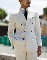 2 Pieces White Double Breasted Solid 2 Piece Slim Fit Mens Suit Notch Lapel One Button Tuxedo Jacket Pants Set ( Blazer+Pant)