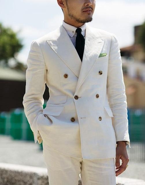 2 Pieces White Double Breasted Solid 2-Piece Slim Fit Mens Suit Notch Lapel One Button Tuxedo  Jacket Pants Set ( Blazer+Pant)