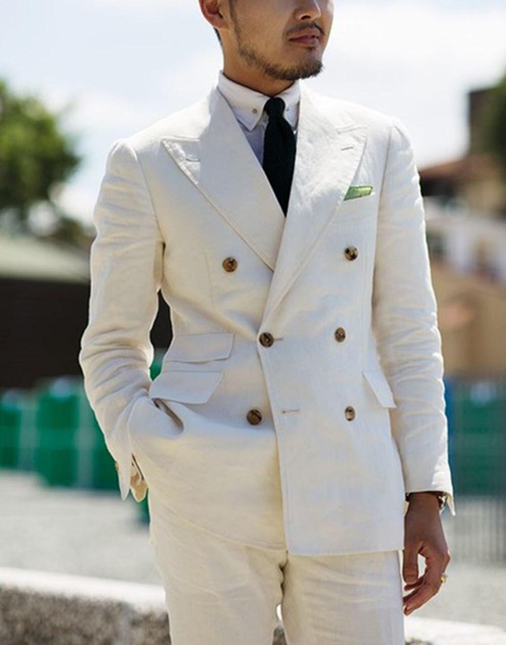 2 sztuk biały podwójne piersi stały 2 sztuka Slim Fit męskie garnitur Notch Lapel jednego przycisku Tuxedo kurtka spodnie zestaw (marynarka + spodnie) w Garnitury od Odzież męska na  Grupa 1