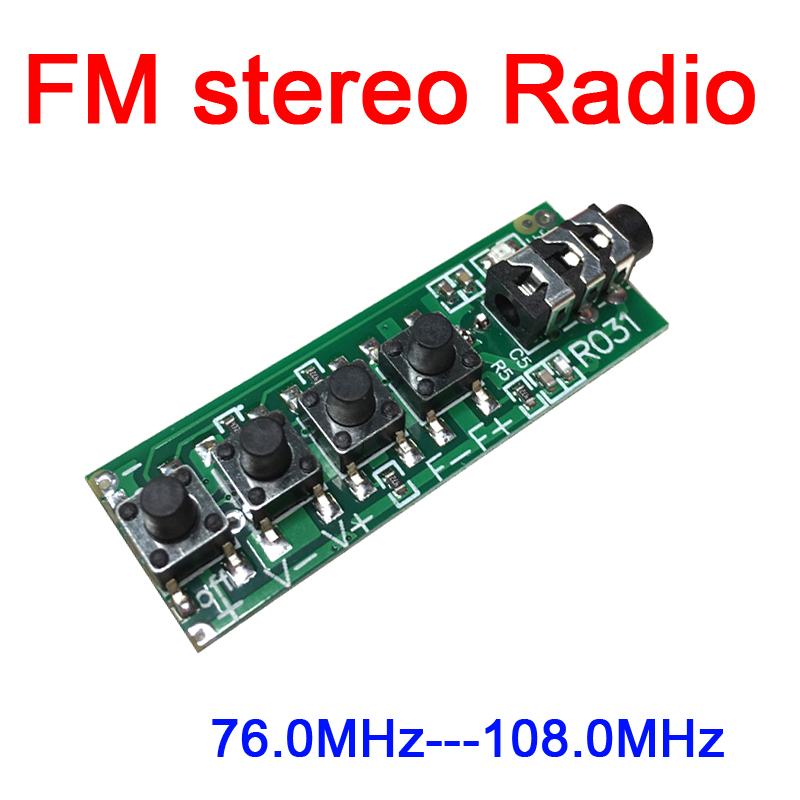 DYKB Dc 3v-12v Dual Channel Stereo FM Radio Module FM Receiver Module 76.0MHz -108.0MHz Sensitivity: 1.3uV For Ham Radio