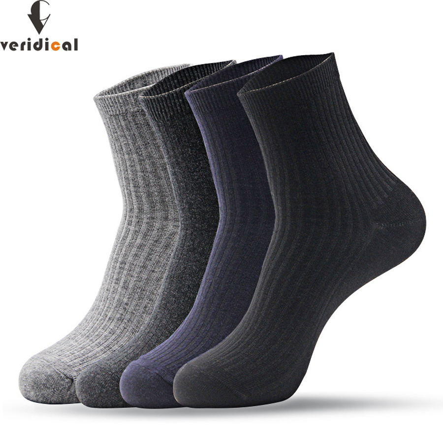 VERIDICAL VERIDICAL 6 pairs/lot mens socks cotton business Solid formal work short calcetines socks for male good quality meias