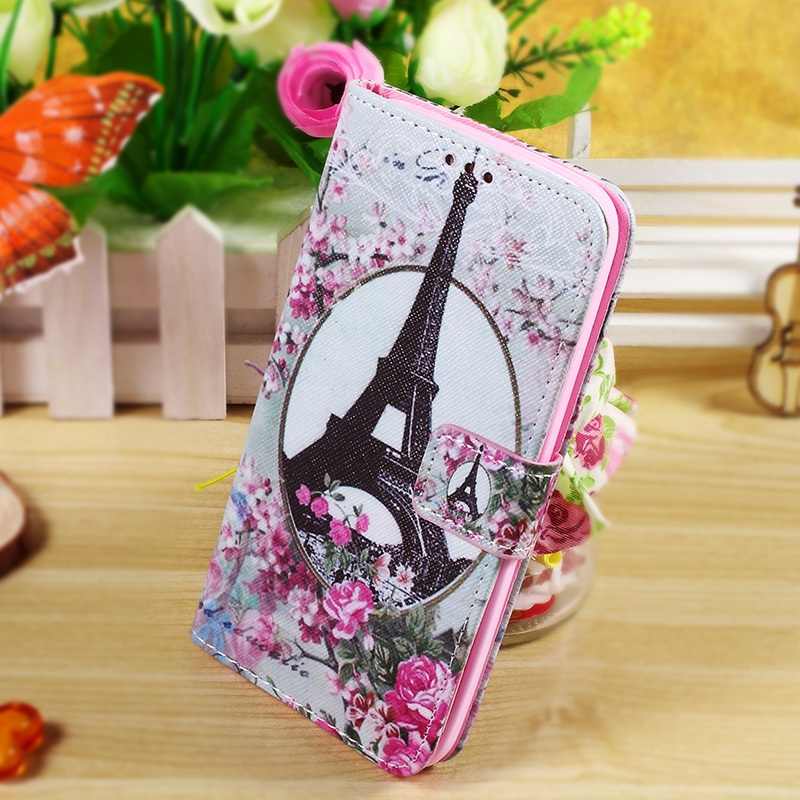 Callfree Wallet Leather Phone Bag Case Cover Shell for Asus Zenfone 2 Laser ZE500KG ZE500KL 5.0-inch - Eiffel Tower and Flower