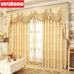 De Lujo europeo apagón oro windows tratamiento cortinas para sala de estar dormitorio flor cenefa de tul
