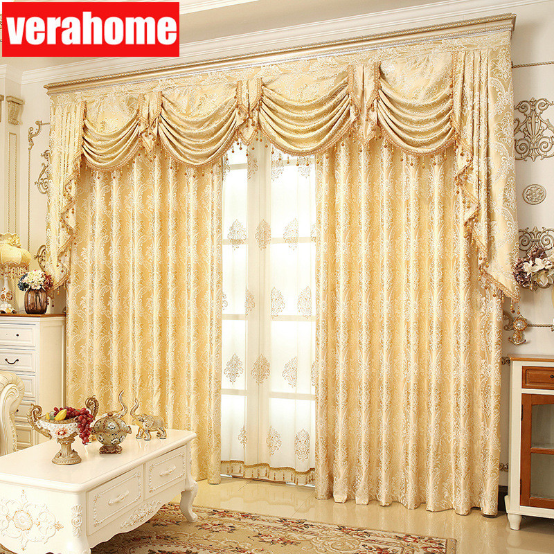European Luxury Blackout  Gold Windows Treatment Curtains For Living Room Bedroom Flower Tulle Valance
