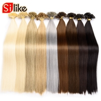 22 inch Fusion Hair Extensions Straight Machine Made Synthetic Nail Hair Keratin Pre Bonded 100pcs/pack