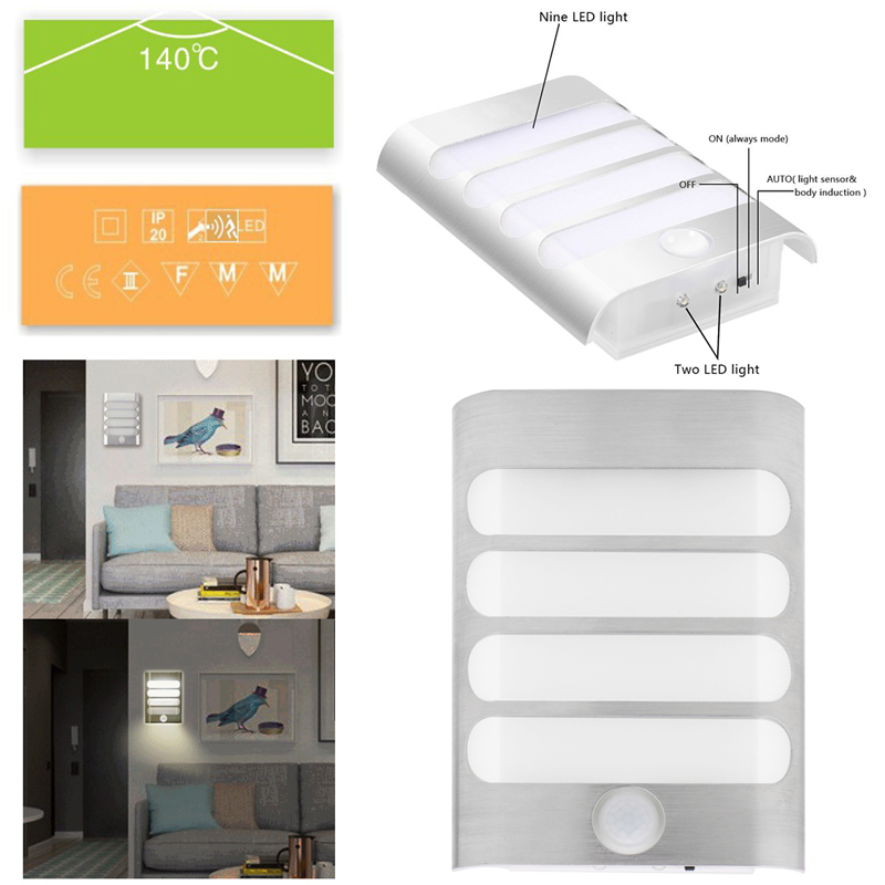 Led Usb Rechargeable Night Light With Motion Sensor Wall Corridor Porch Lamp