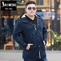 Outono e inverno moda tamanho grande Mens blusão com capuz nutty gordura adicionar fertilizantes aumentou solto outono lazer longo casaco