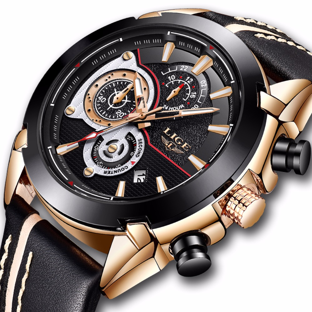 Relojes Hombre 2018 New LIGE Mens Watches Top Brand Luxury Military Sport Waterproof Watch High Quality Leather Quartz Clock+Box fashion hk brand top grade luxury automatic clocks high quality genuine leather mens hollow watches relojes hombre marca famosa