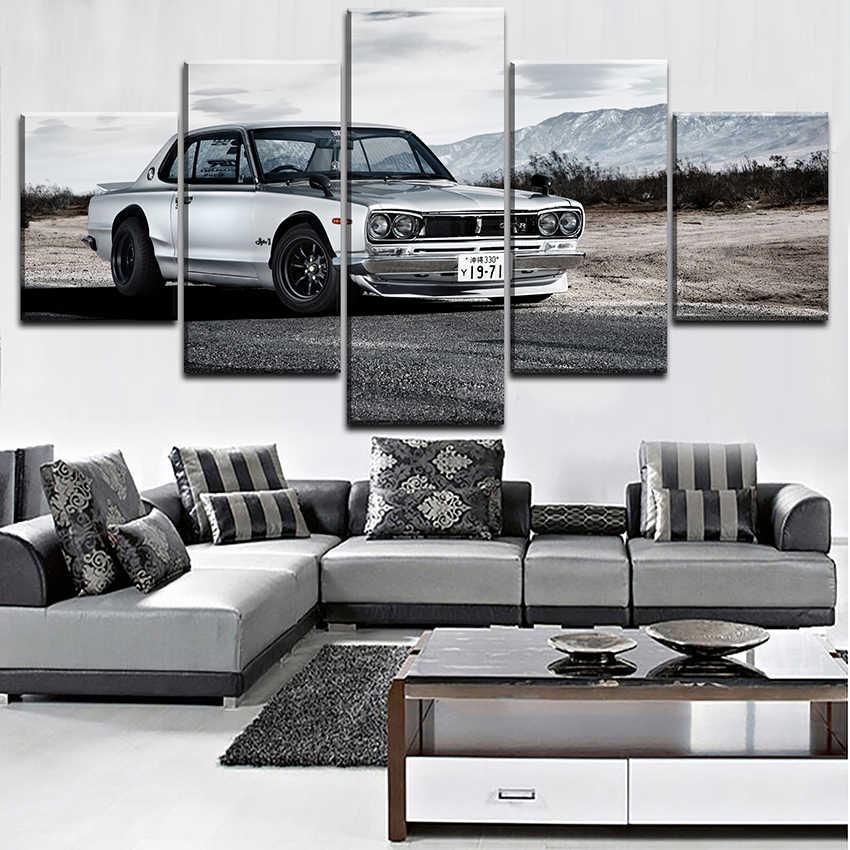 5 Pieces Nissa Skyline Gtr Car Poster Modern Wall Art Decorative Modular Framework Picture Canvas HD Printed One Set Painting