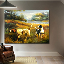 QKART Frameless Wall Art Dogs Hunting Farm Oil Painting On Canvas Picture Wall Paintings for Living Room Home Decor