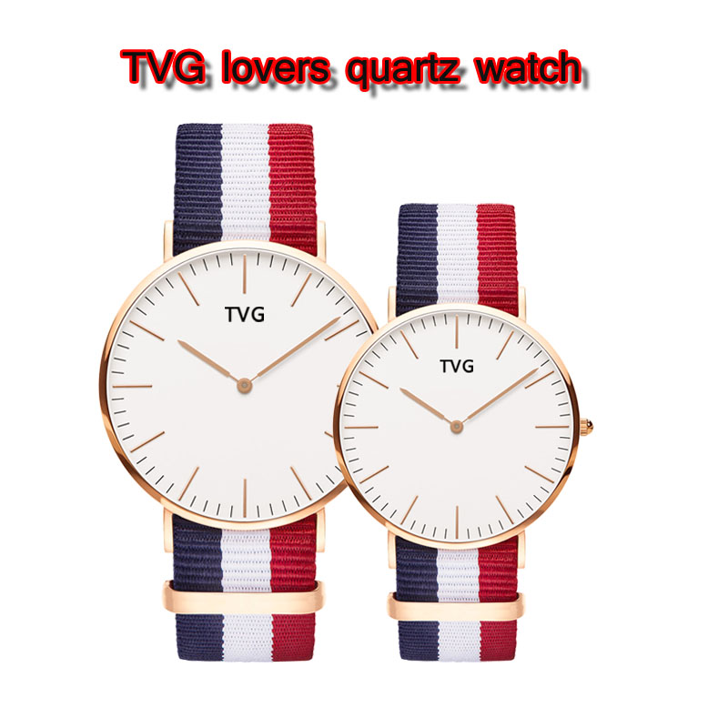 TVG 2019 New Arrival Simple Fashion Multicolor Cloth Watch Band Ultrathin Waterproof Quartz Watch Lovers Watch Men Watch