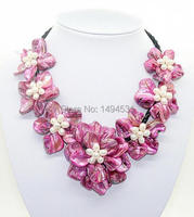 New Arriver Fashion Flower Jewelry White Natural Pearl Rose Shell Mother Of Pearl 7 Shell Flower