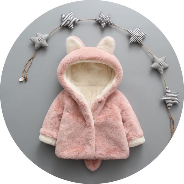 Outono Bebê Outwear Menina Roupas de Algodão Vestido Infantil Do Bebê da pele Do Falso Quente Casaco de Inverno Recém-nascidos Roupas Crianças Jaqueta Casaco