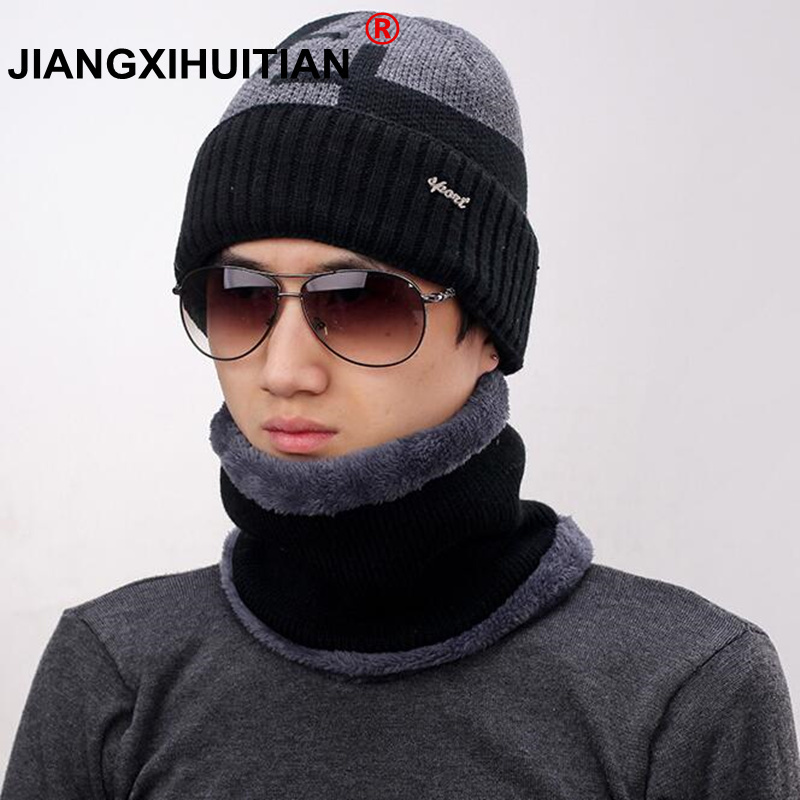 Balaclava Knitted hat scarf caps neck warmer Winter Hats For Men women   skullies     beanies   warm Fleece cap black gray colors