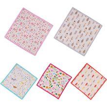 Детские хлопковые квадратные носовые платки для малышей, размер 35x35 см, 60 s, милые полотенца для малышей с изображением животных из мультфильмов, рыбок, милые носовые платки ярких цветов