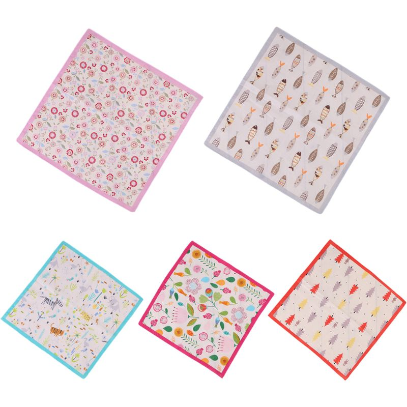 35x35cm Children Baby 60s Cotton Square Handkerchief Cute Cartoon Animal Fish Printing Toddler Towels Sweet Candy Color Hankies