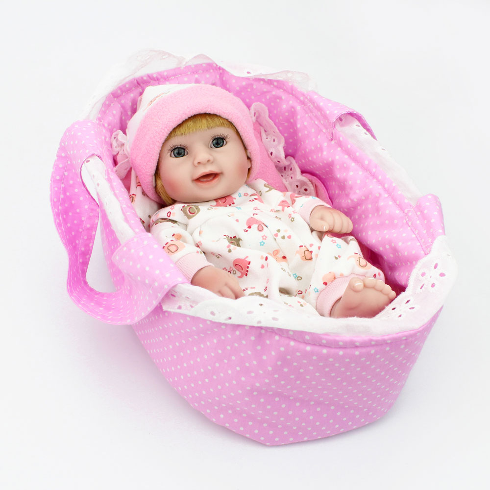 NPK DOLL 10 Mini Reborn Doll Full Vinyl Pink Girls Basket Lifelike Real Newborn Baby Fashionable with hat Lovely Smile NPK DOLL 10 Mini Reborn Doll Full Vinyl Pink Girls Basket Lifelike Real Newborn Baby Fashionable with hat Lovely Smile