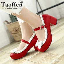 TAOFFEN Women Thick High Heel Shoes Patchwork Bowknot Heart Buckle Heels Pumps Ladies Office Daily Footwear Size 28-43