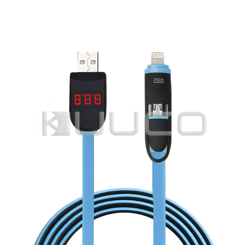 USB Voltmeter/Ammeter USB Cable/Tester 2in1 Charging Monitor Meter Dual Laser Perspective Display for Android Phone/Apple Phone