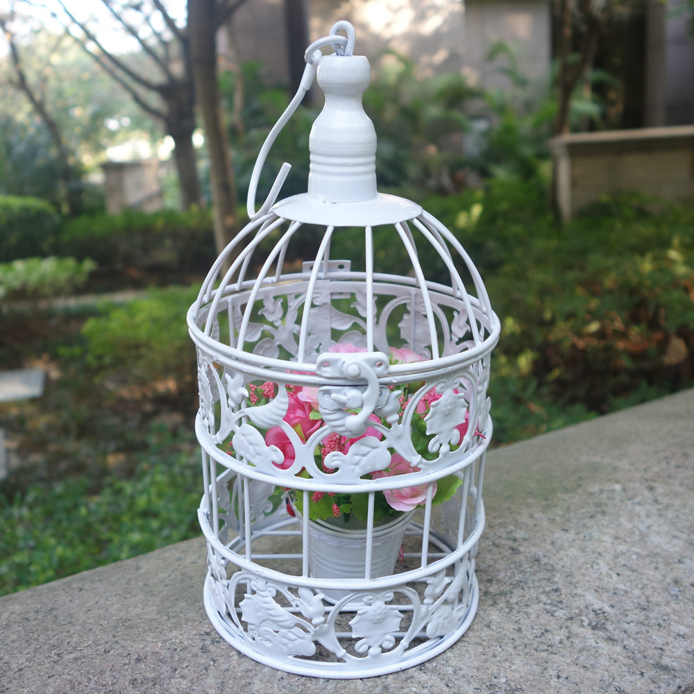 Handmade small metal birdcage vintage iron white wedding