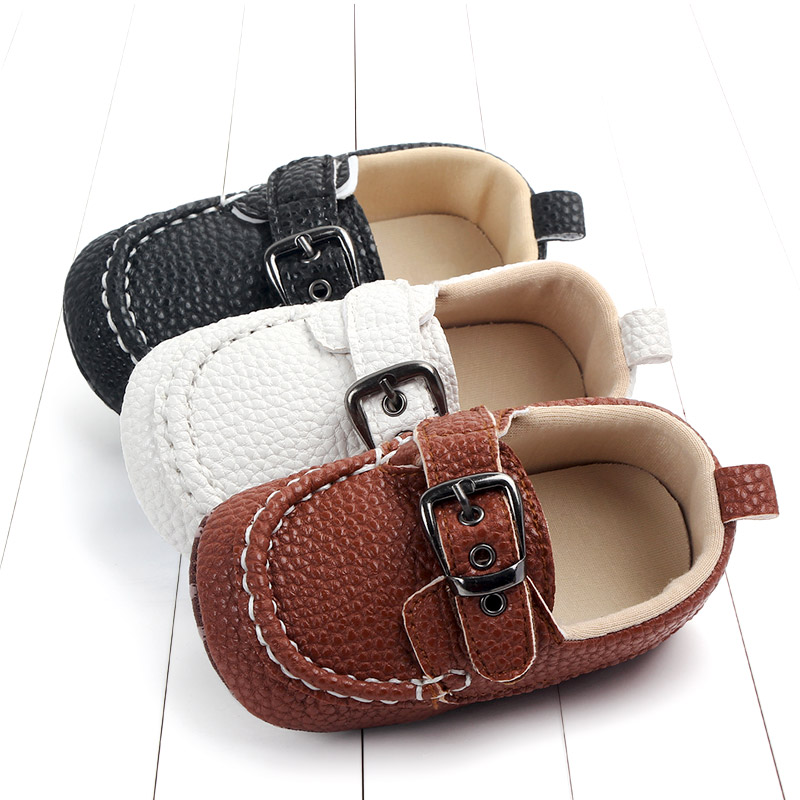 Dropshipping Leather Moccasin For Baby Boy Infant Prewalking Shoes Black Loafer Shoes  New Born Shoes For 0 -1year Babies