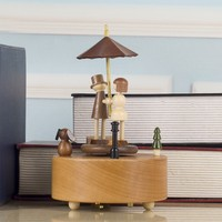Handmade European Style Wooden Clockwork Music Box Craft Decoration Gift a712