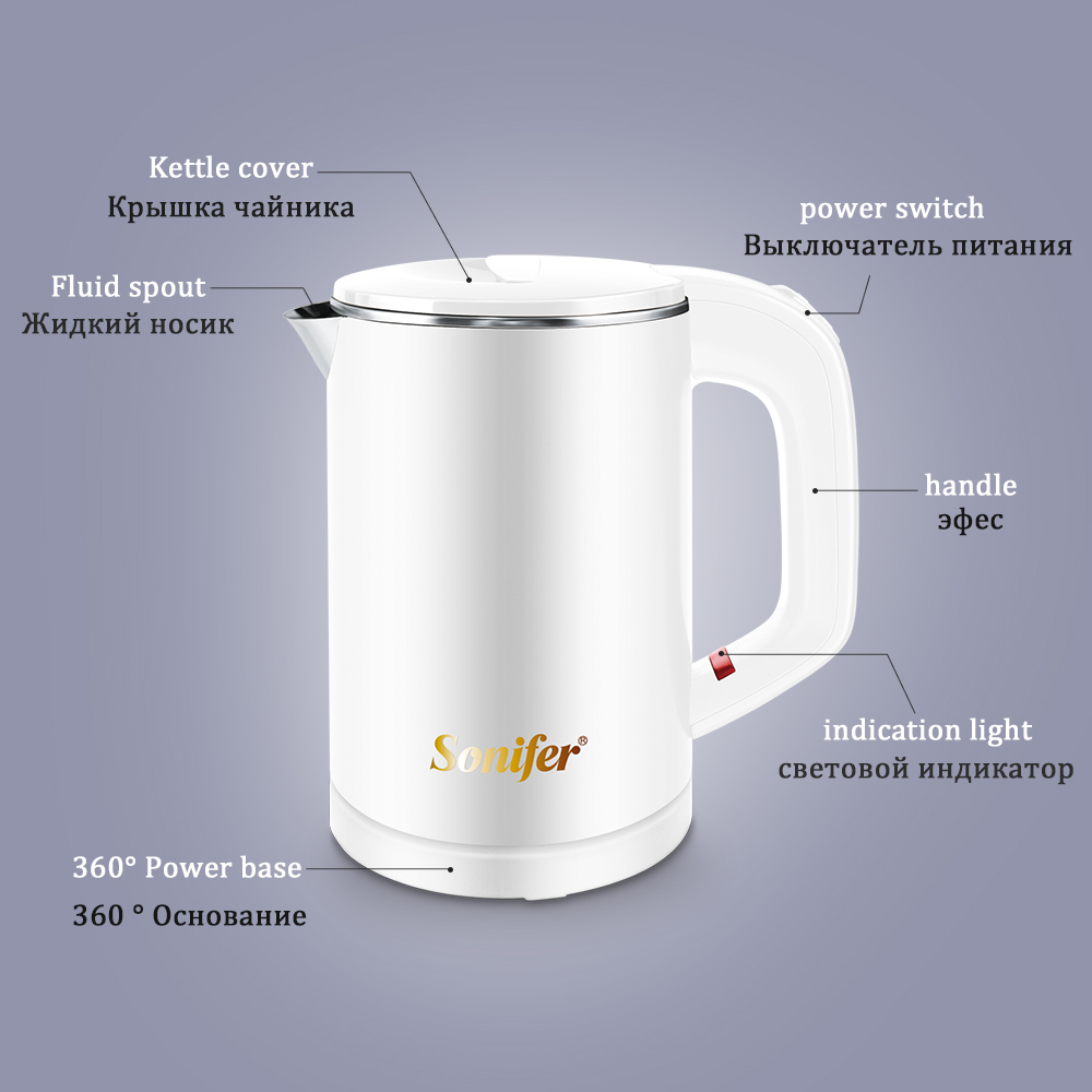 0.6L Travel Mini Electric Kettle 304 Stainless Steel Quietly Cordless Portable 600W Heating Electric Boiler Water Teapot Sonifer