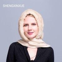 SHENGXINXUE Shawl Hats for women real mink fur scarf winter girls hat