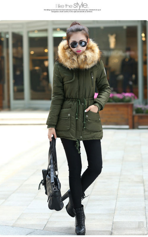 2014 new plus size Khaki/Camouflage/Army green womens fur collar thicken cotton-padded coat ladies hooded jacket casual outwear