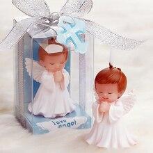 12 pcs งานแต่งงานโปรดปรานและของขวัญสำหรับผู้เข้าพัก Baby shower Birthday Party Angel เทียนสำหรับเค้กของที่ระลึกอุปกรณ์ตกแต่ง