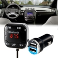 Car kit Audio receiver Bluetooth FM Transmitter USB Car Charger auto MP3 Player Handsfree AUX TF card Slots Magnetic sticker