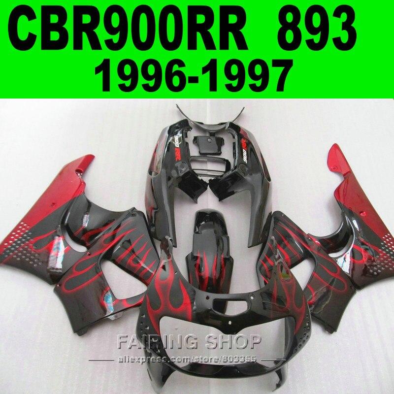 Red Flame Cbr900rr 1996 1997 Fairing Kit For HONDA CBR 900RR 893 97 96 Motorcycle Fairings CN15