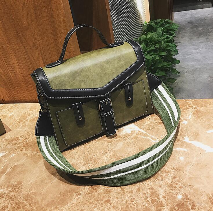 Cool Constract Color Fashion Shoulder Strap Pu Leather Women Shoulder Bag #1902 Fashion Woman Crossbody Bag Christmas Gift