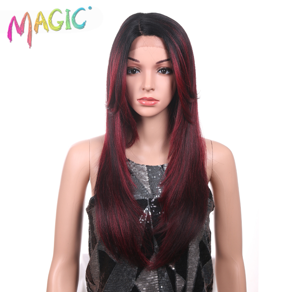 Magic Long 24Inch Straight Hair Synthetic Lace Front Wigs Black Women Natural Red Wigs For Women Heat Resistant Hair Cosplay Wig