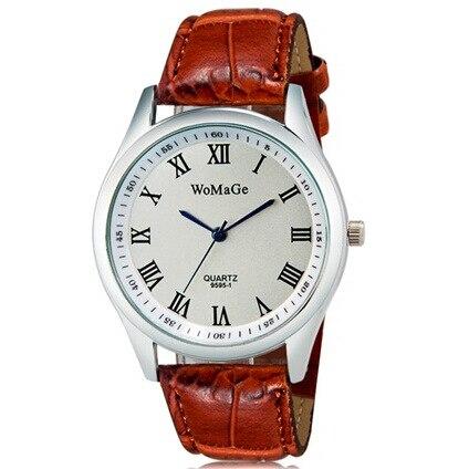 Womage vestido de las mujeres relojes moda casual señoras reloj Relojes de  cuarzo con números romanos cuero pu cuarzo Relojes 02e05467d82b