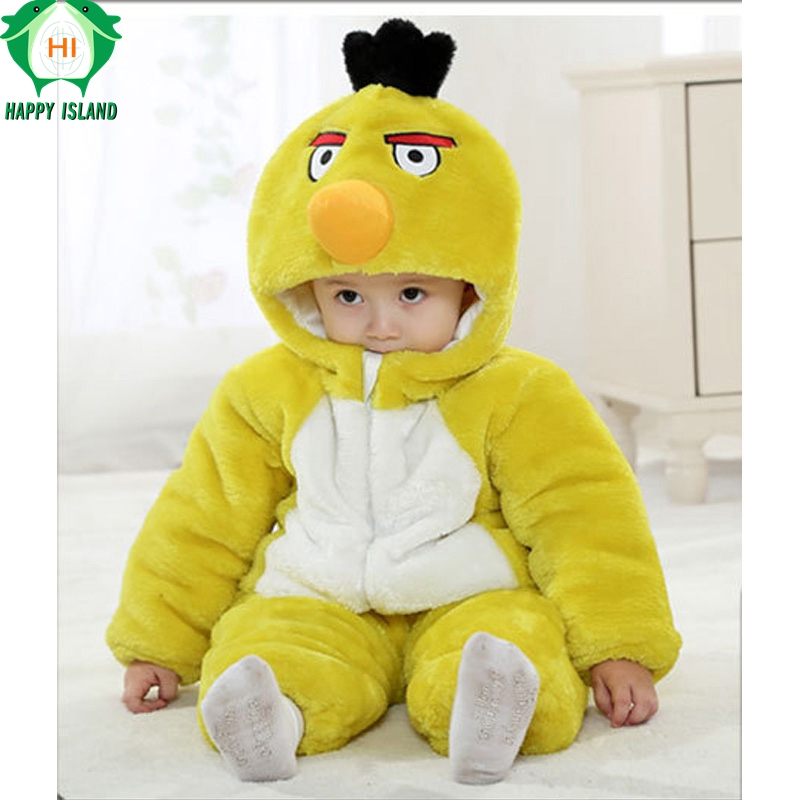 Brand Baby Clothing Winter Thick Baby Jumpsuit Romper Long Sleeve Cotton Cartoon Animal Bird Costume For 0-3 Newborn Girls Boys puseky 2017 infant romper baby boys girls jumpsuit newborn bebe clothing hooded toddler baby clothes cute panda romper costumes