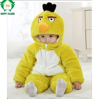 Brand Baby Clothing Winter Thick Baby Jumpsuit Romper Long Sleeve Cotton Cartoon Animal Bird Costume For
