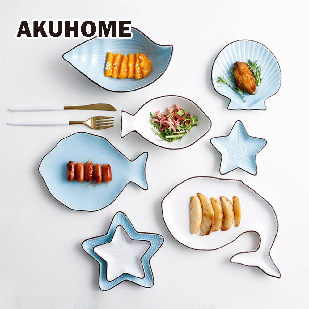Set of 7 Ceramic Ocean Style Plate Fish Shell Dish Starfish Dish Trumpet Shell Bowl Blue White Porcelain Dinnerware AKUHOME