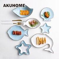 Set of 7 Ceramic Ocean Style Plate Fish Shell Dish Starfish Dish Trumpet Shell Bowl Blue White Porcelain Dinnerware AKUHOME