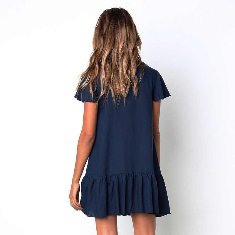 Мини-платье 2019 летнее женское платье-рубашка повседневное свободное чистое платье с коротким рукавом однотонное платье с v-образным вырезом мини чистые платья с пуговицами Vestidos