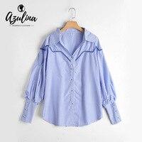 AZULINA Casual Blue Striped Button Up Blouse Shirt Women Long Puff Sleeve Sweet Drop Shoulder Blouse
