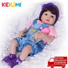 KEIUMI Lifelike 23 дюймов полный силиконовый винил для новорожденных, для девочек куклы для продажи Моделирование этнические Reborn Boneca дети подарки на день рождения