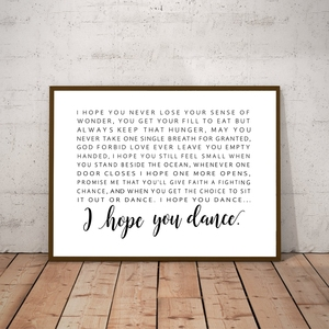 I Hope You Dance Lyrics Poster Canvas Painting Wall Picture Black And White Song Lyrics Art Canvas Prints Child's Room Art Decor