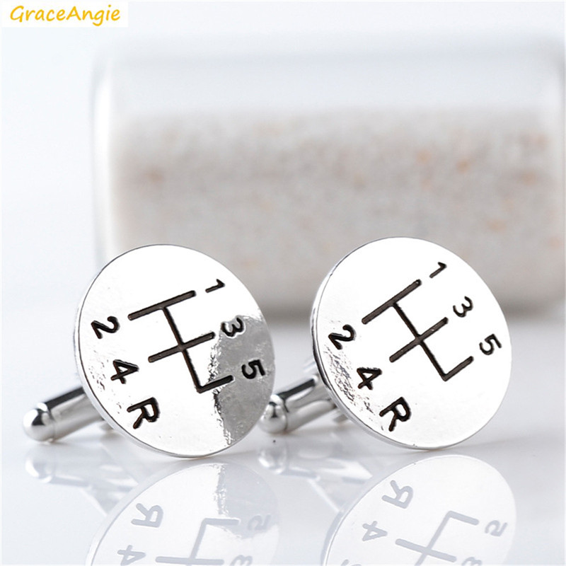 GraceAngie 1Pair Vechile Car Transmission Round Shape Stylish Alloy Cuff Links For Women Men High End Special Valentine Jewelry