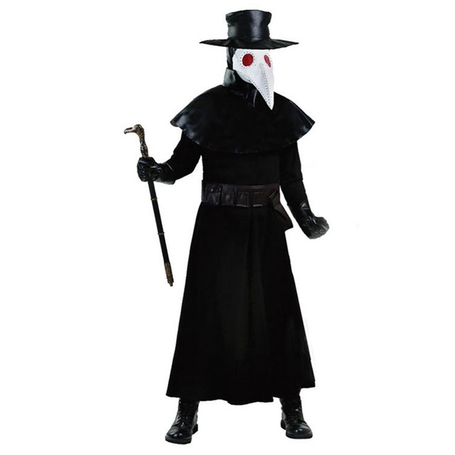 0a1ec7bb6ae45 Plague Doctor Halloween Cosplay Costume Adults Carnival Crow Mouth Doctor  Dark Dungeon Heroic Disease Plague Doctor Party Outfit
