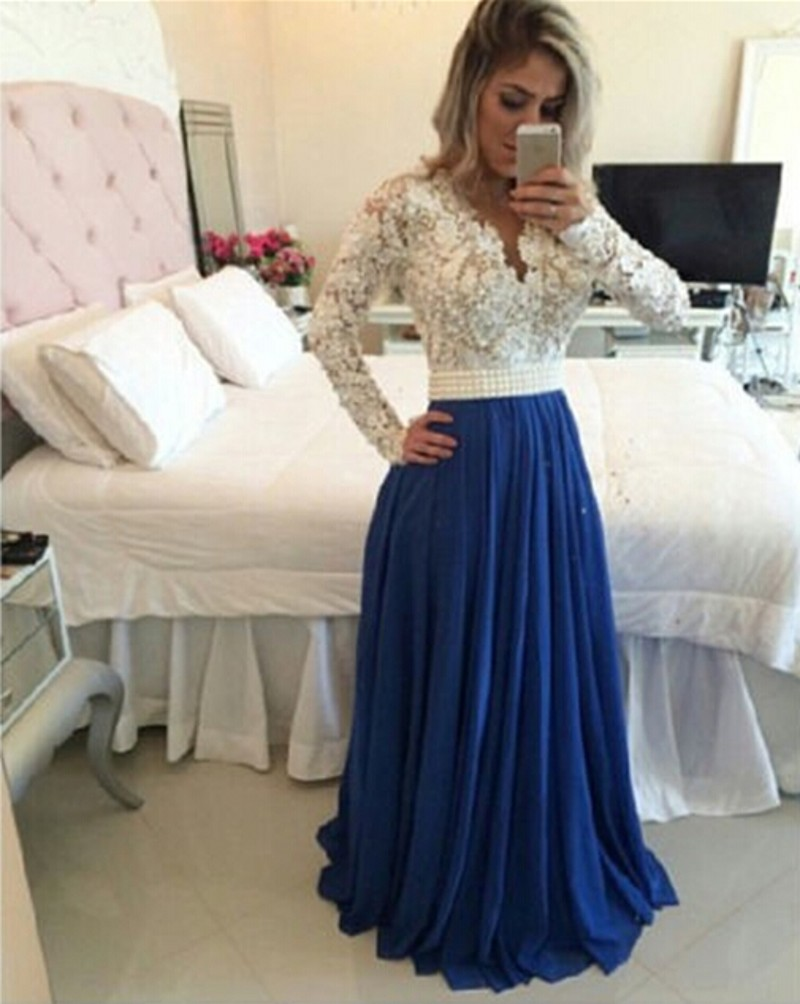 Royal Blue Long Lace Sleeve   Prom     Dresses   Custom Made Sheer Back Beads A Line Evening Party Gowns vestido baile