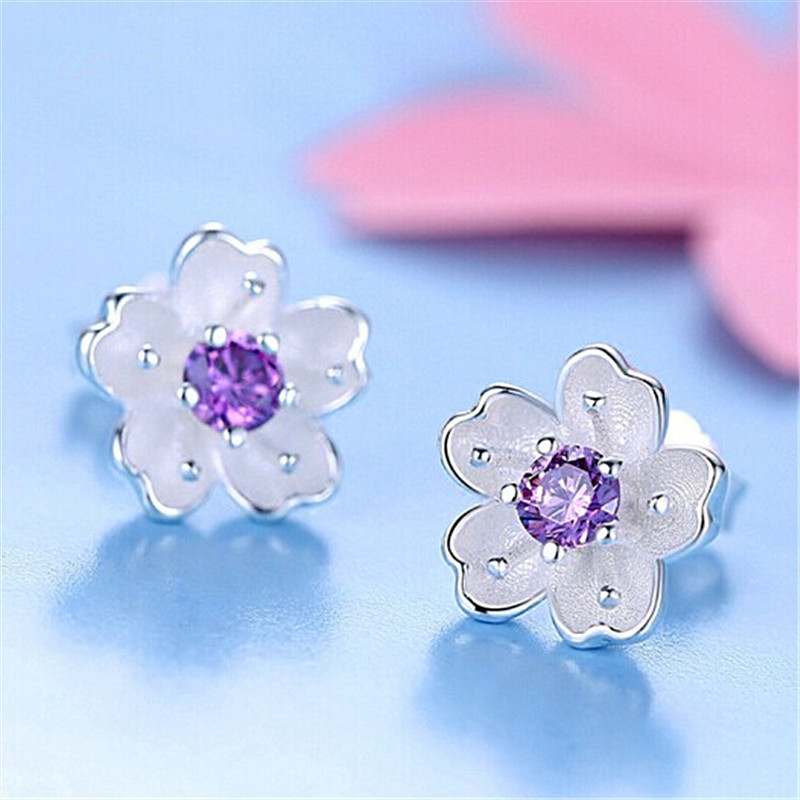 925 Sterling Silver Daisy Flower Stud Earrings Romantic Gift for Women Girls Gift 2018 Newest Fashion Jewelry