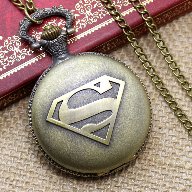 Free Shipping Antique Bronze Superman Mark Design Pocket Watch With Chain Best G